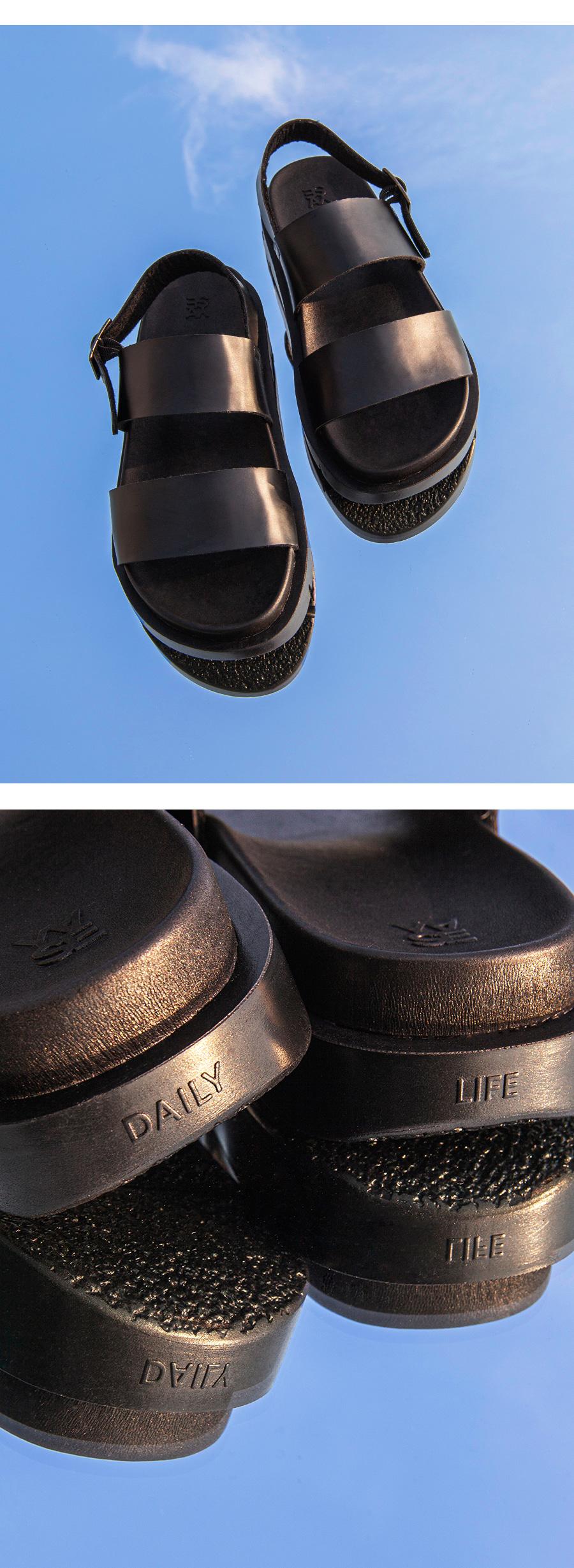 야세(YASE) 산토리니 샌들 레더 블랙 552
