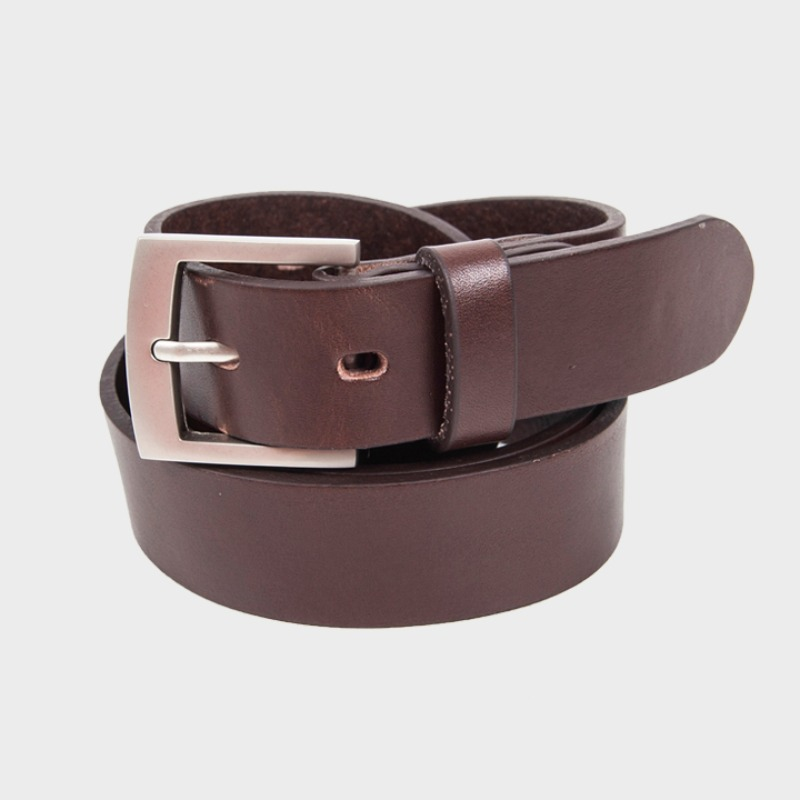 429# RIGHT ANGLR SILM BELT BROWN - MATT NICKEL