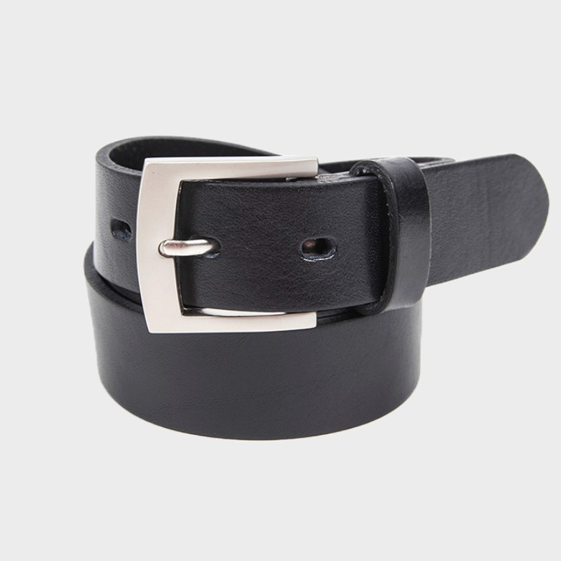 428# RIGHT ANGLR SLIM BELT BLACK - MATT NICKEL