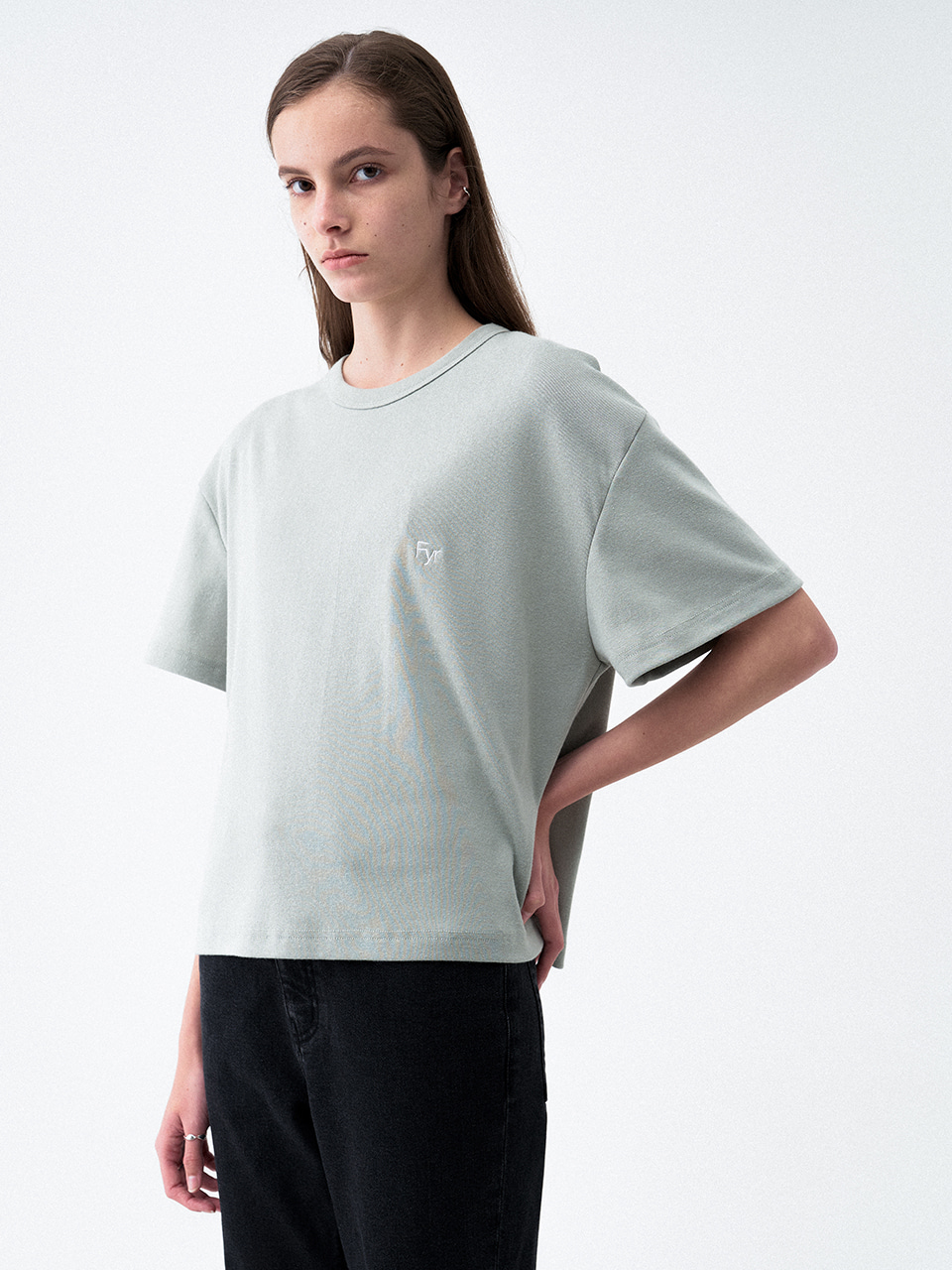 Foyer Signiture Tee Mint grey